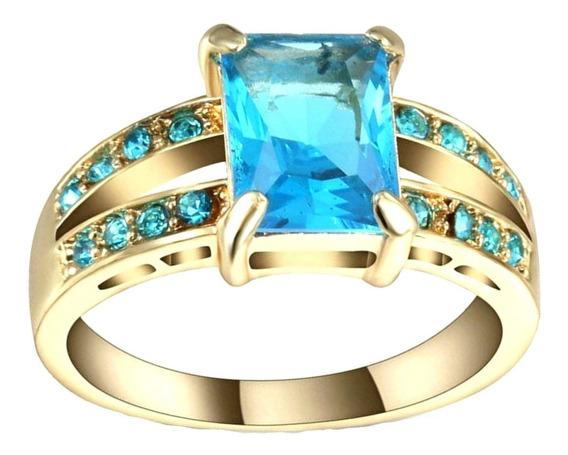 Anel Feminino Cristal Água Marinha Azul 3 Banhos Ouro 812