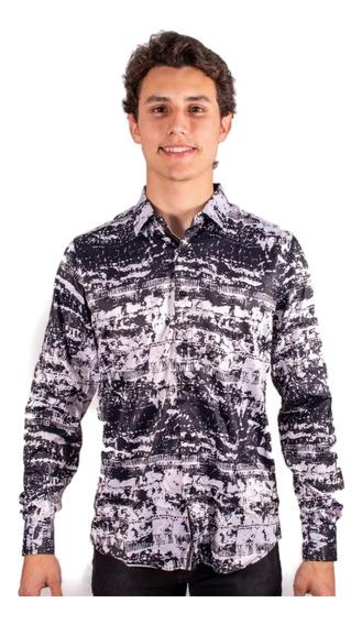 Camisas Caballero Marca Moderno Estampada Manga Larga