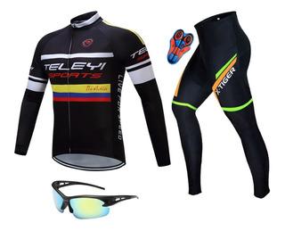 Roupa Ciclismo Calça E Camisa + Óculos Proteção Raios Uv 064