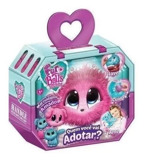 Adotados Fur Balls Pets Surpresa Pelucia Rosa Fun Brinquedos