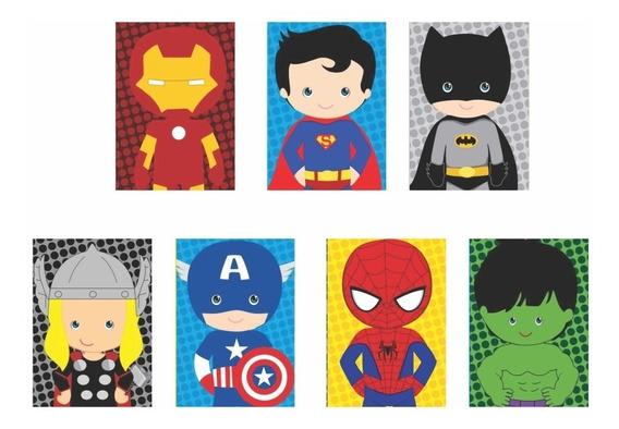 Quadros Decorativos Super Heróis Marvel Dc Infantil 7uni