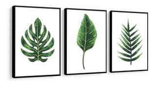 Quadro Folhas Verdes Zen Spa Perfeito Para Jardim De Inverno