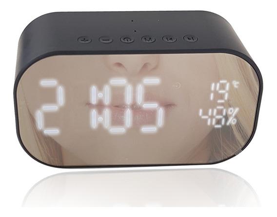 Caixa De Som Rádio Relógio Despertador Bluetooth Usb Preto