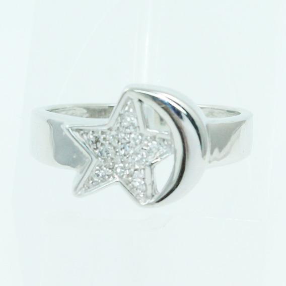 Pocao2005- Anel De Ouro Branco 18k750 Diamantes Estrela Lua 2563