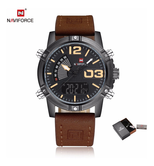 Relógio Masculino Naviforce 9153 Original De Pulso Dourado