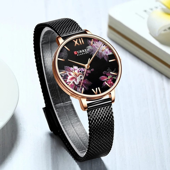 Relógio Feminino Luxo Decorado Flores Curren Aço