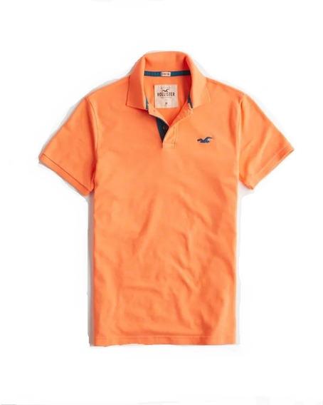 Hollister Caballero Polo Stretch Pique Color Naranja Importa