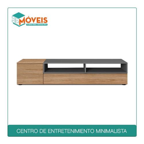 Imagen 1 de 9 de Centro De Entretenimiento Minimalista_gris & Natural