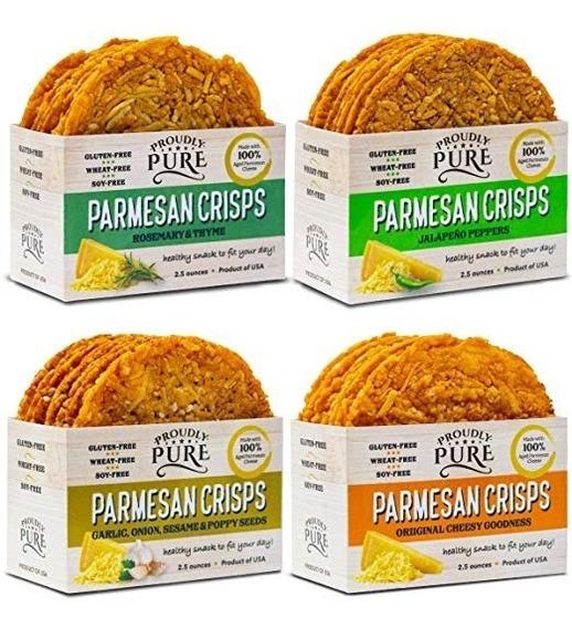 Keto Snack Queso Parmesano Tostado Natural Bajo Carbs 4 Pack
