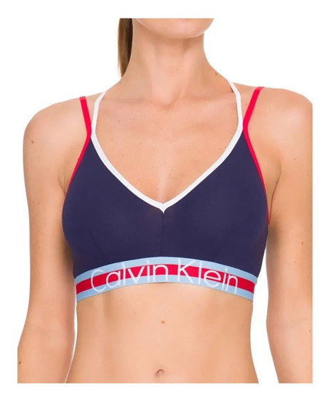 Sutiã Top Calvin Klein Underwear Retro Ck Namur Em Cotton Fe