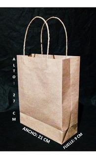 Bolsas De Papel Kraft 90 Gr. Manija Trenzada, Tam: 27x21x9