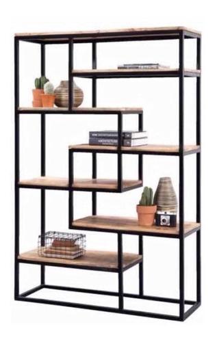 Repisa -estanteria - Biblioteca -hierro Y Madera- Industrial