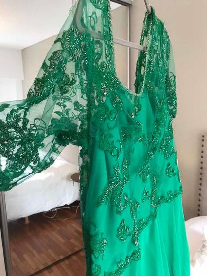 Vestido De Madrina Color Verde, Bordado Y Muselina.xl