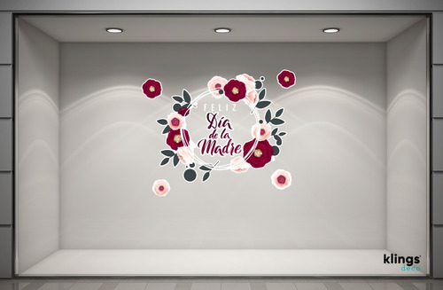 Imagen 1 de 10 de Vidriera Feliz Dia De La Madre Mama Cartel