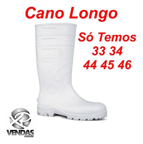 Botina Pvc Cano Longo 37,5 Cm Branca Galocha Cozinha Aliment