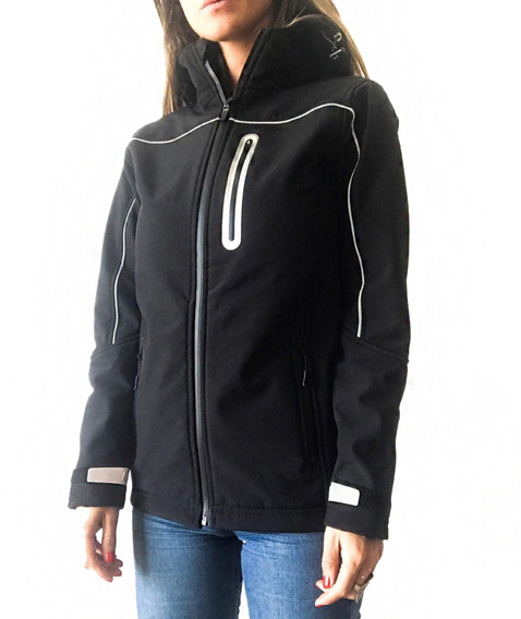 Campera Softshell Dama Negra Termica Impermeable Nieve Mujer