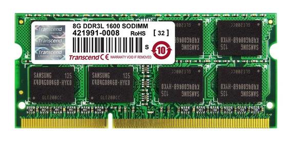 Memoria Ram 8gb Transcend Information Ddr3l 1600 So-dimm 2rx8