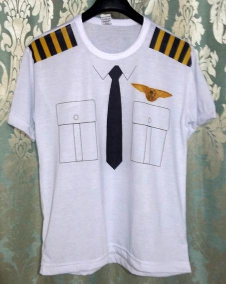 Camiseta Piloto De Avião Com Desenho De Bolso