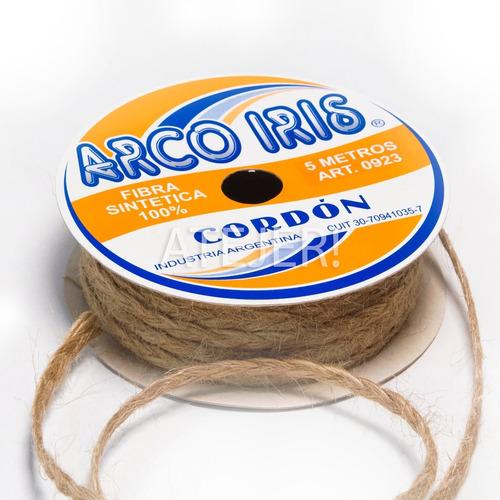 Cordón Trenzado De Yute Arco Iris Art 923 De 5mm X 5 Metros