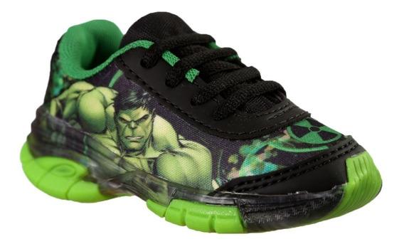 Tênis Infantil Hulk Vingadores Avengers Com Led Luz