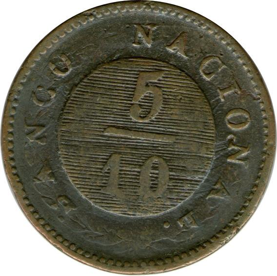 Spg Buenos Aires Argentina 5/10 Real 1827 Sobre Decimos