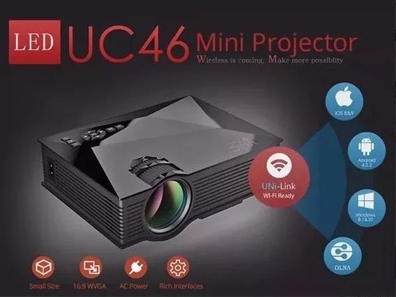 Mini Projetor Portátil Uc46 Led 130 Pol Wifi Data Show Filme