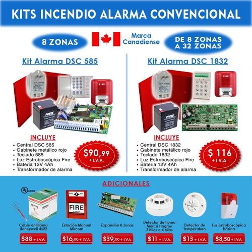 Sistema Contra Incendio Central Dsc 585 Sirena Alarma Kit