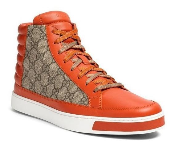 Tenis Gucci Gg Supreme High Top Snaeker Orange Original