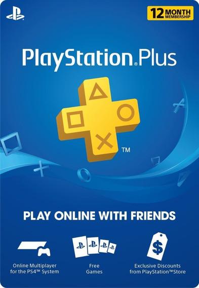 Cartão Psn Plus Playstation Plus 12 Meses Br Ps3-ps4