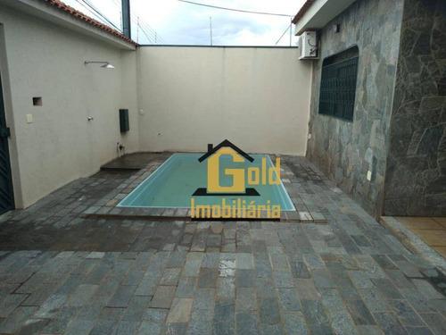 Casa Com 3 Dormitórios Para Alugar, 180 M² Por R$ 2.200/mês - Residencial E Comercial Palmares - Ribeirão Preto/sp - Ca0494