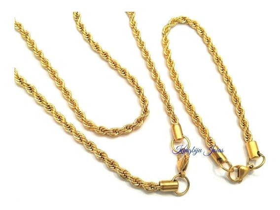 Cordão E Pulseira Masculina 6mm Banhado Ouro Trançado Baiano