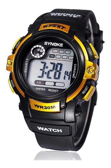 Relógio Digital De Pulso Led Infantil Ouro Synoke + Brinde