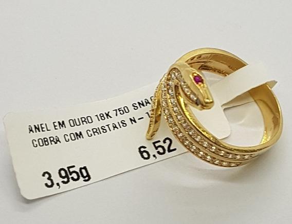 Anel Em Ouro 18k 750 Snack Cobra Com Cristais 3,95g