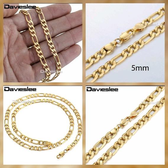Cordão Fígaro 3x1 Folheado Em Ouro 22 Kt , Com Garantia