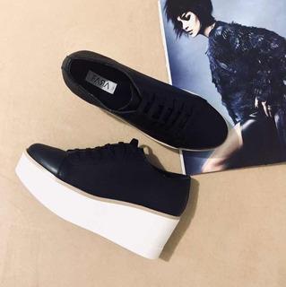Sneakers Negros De Plataforma