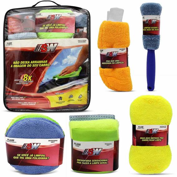 Kit Limpeza Automotiva Pano Microfibra Luva Esponja 9 Peças