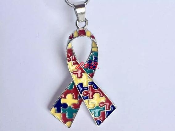Colar Pingente Símbolo Autismo Autista Fita Quebra-cabeça