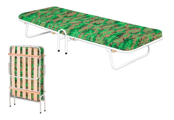 Cama Dobrável Portátil Com Colchão Espuma Para Camping