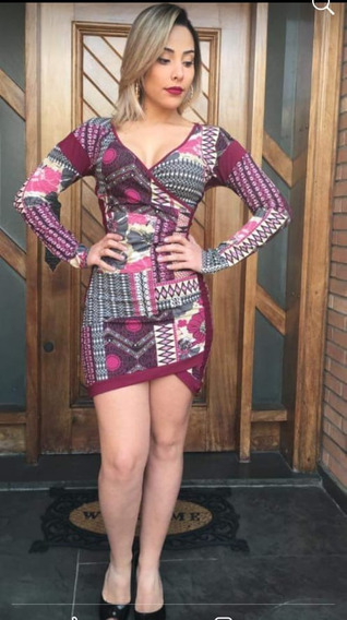 Vestido Feminino Curto Panicat Balada Transpassado