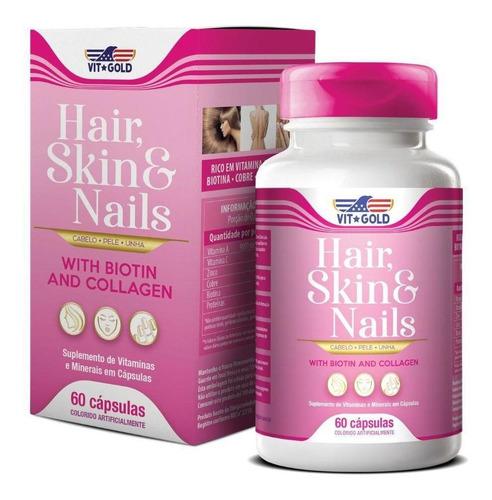 Imagem 1 de 3 de Hair Skin & Nails Cabelo, Pele E Unhas Vitgold 60 Cápsulas