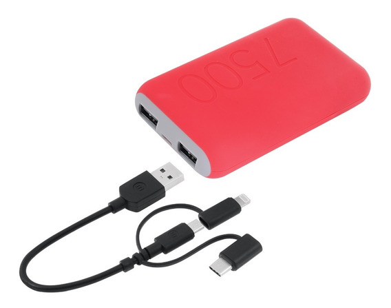 Bateria Portatil Power Bank Mobo 7500 Mah Rojo 2.1a/10w