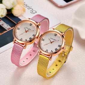 Relógio Barato Feminino Em Promoção Yolaco Pulseira Colorida