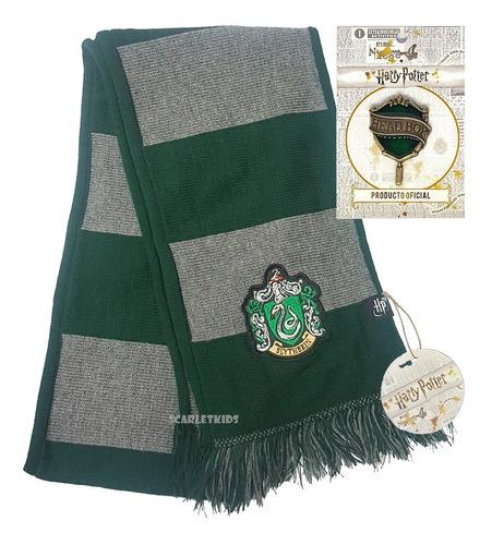 Imagen 1 de 6 de Bufanda Harry Potter Slytherin + Pin Licencia Original