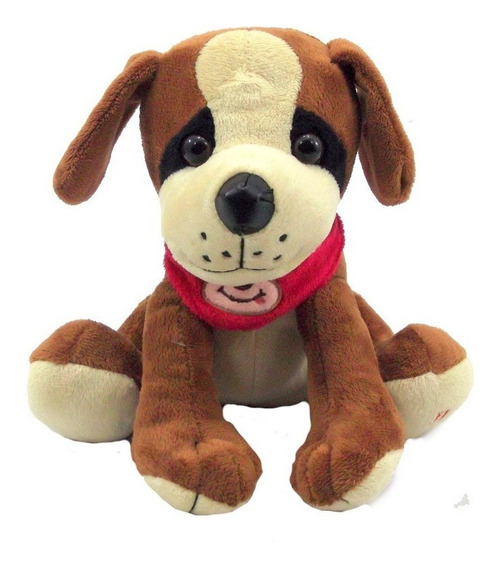 Cachorro Pelúcia 22 Cm Com Som Antialérgico Lavável Marrom