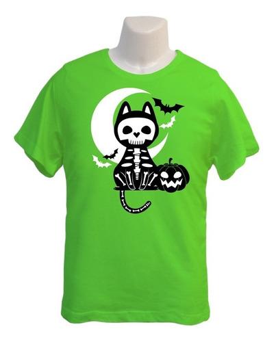 Polera Gato Esqueleto - Polo Niño - Halloween - Regalo