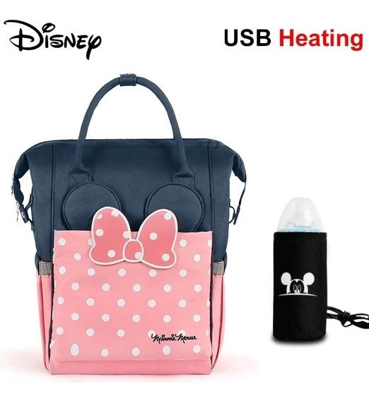 Mochila Maternal Disney Con Celentador Usb.