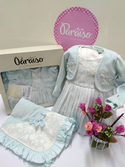 Saida Maternidade Plush Paraiso Bebê Menina Vestido Cod 7985