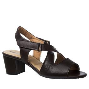 Sandália Feminina 284 Em Couro Café Doctor Shoes