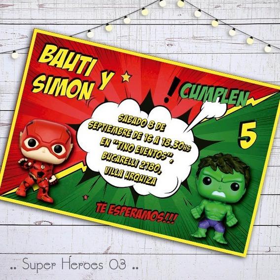 Invitacion Digital Cumple Funko Pop Flash Hulk