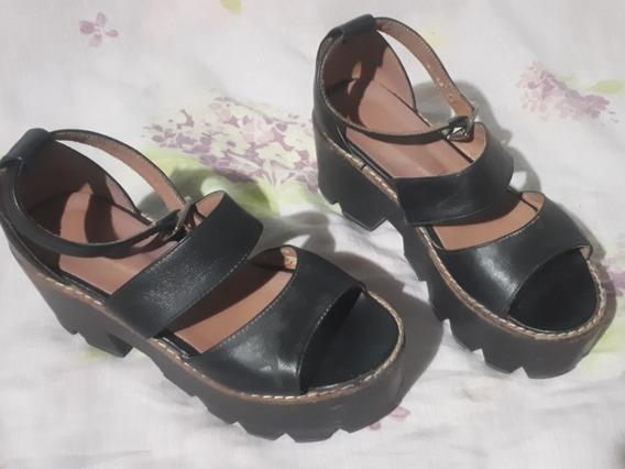 Sandalias Zapatos Cuero Marca Via Uno Taco Plataforma Negro